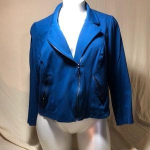 Blue ponte moto jacket
